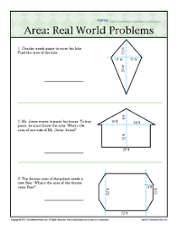 area real world problems 6th grade geometry worksheets