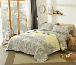 Yellow And Grey Bed Set