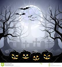 halloween graveyard and pumpkins in foggy forest stock vector