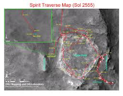 Spirit Route Map by Mars Exploration Rover Mission Spirit Traverse Maps