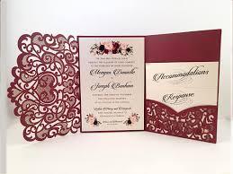wedding invitations laser cut laser cut wedding invitations marsala burgundy pocket wedding