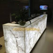 Illuminated Reception Desk Faux Onyx