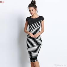 elegant women striped dress short sleeve tunic party wear work
