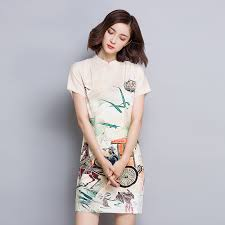 online shop chinese traditional printed cheongsam dress qipao
