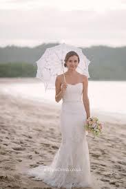 mermaid strapless ivory lace long beach wedding dress sweep train