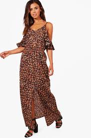 petite isabella cold shoulder printed maxi dress boohoo petite
