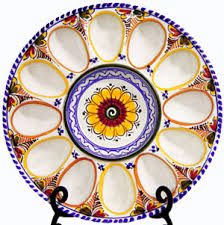 egg plate handmade ceramic deviled egg plate from spain