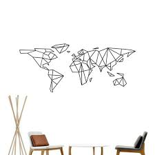 World Map Wall Sticker by Map Of The World Vinyl Wall Decal Home Decor Geometric Removable