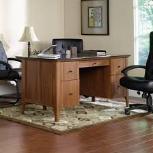 sauder appleton faux marble top executive desk sand pear by office