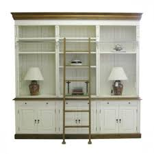 european design french provincial three bay bookcase with ladder