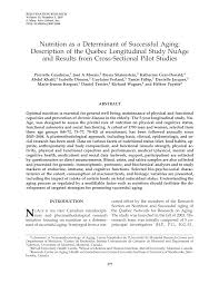 nutrition as a determinant of successful aging description of the