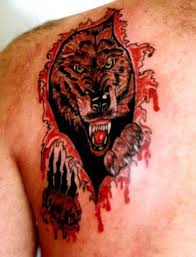 pictures wolf of wolf ripping through skin tattoos