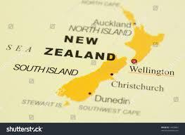 Map New Zealand Close Wellington New Zealand On Map Stock Photo 19428607