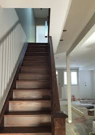 Box Stairs Design Capping Refacing Box Stair New Stringers Solid Oak Dark Stain