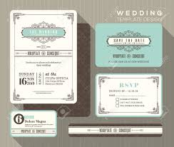 Wedding Invitations With Free Response Cards Vintage Art Deco Wedding Invitation Set Design Template Place