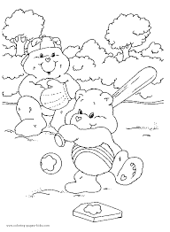 care bears coloring picture care bear baseball