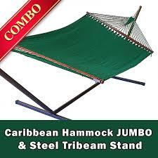 caribbean hammock jumbo green and steel stand bronze combo