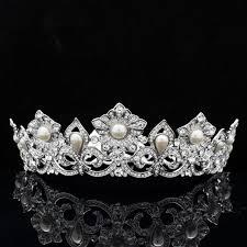 bridal crowns bridal crown princess swarovski pearl wedding