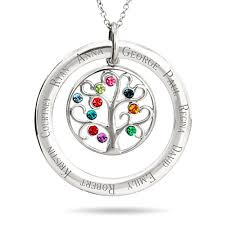 personalized family tree necklace add 10 birthstones to this family tree necklace the 10