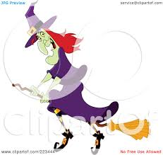 green and purple striped witch child costume cartoon of a happy trick or treating halloween in a witch