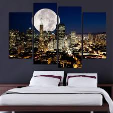 online get cheap cityscape wall art aliexpress com alibaba group 4pcs modern living room home decor wall art picture print san francisco full moon night cityscape