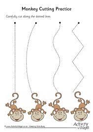 monkey cutting practice pre k and kindergarten printables