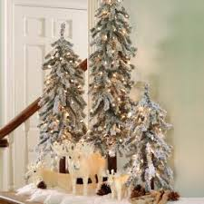 pre lit flocked alpine tree set of three grandin road