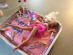a drunk barbie cake for older girls great idea for 19th bday or