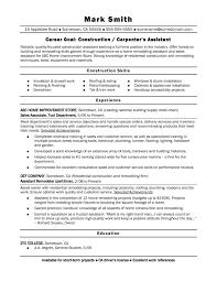 Retail Sales Assistant Resume Sample Job Wining Construction Carpenter Assistant Resume Sample Vinodomia