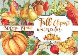 fall clipart watercolor autumn clip instant pumpkin