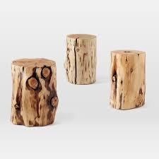 Log Side Table Tree Stump Side Table West Elm