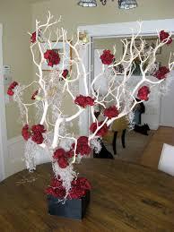 crimson carnation and manzanita tree centerpiece tim burton