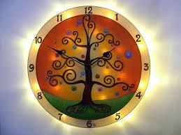 personalized wedding clocks tree of clock and light orange clock mood lighting led