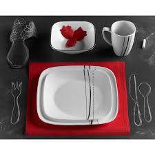 Corelle 12 Piece Dinnerware Set Dinnerware Corelle Simple Lines Square 16 Piece Dinnerware Set