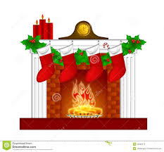 fireplace christmas decorations stockings garland royalty free