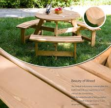 Kidkraft Outdoor Picnic Table by Amazon Com Merax Pine Wood Round Picnic Table And Benches
