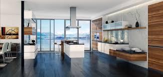 parquet stratifié dans cuisine cuisines cuisine contemporaine parquet stratifié noir îlot blanc