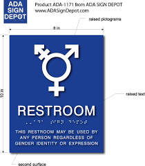 all gender neutral symbol bathroom sign with braille