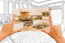 Custom Kitchen Design Female Hands Framing Custom Kitchen Design Drawing And Square