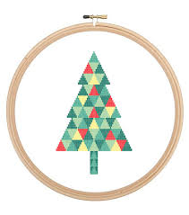 modern christmas tree cross stitch triangle geometric tree cross