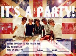 free 1d one direction party invite print it and fill in the