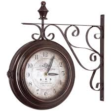 Iron Home Decor by Yosemite Home Decor 16 In Double Sided Iron Wall Clock In Black