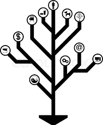 electronic tree of stencil vector illustration stock