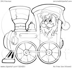 outline clipart of a cartoon black and white christmas santa claus