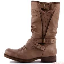 buy womens biker boots mustang 1139 609 318 womens biker boots in taupe synthetic 55 76