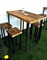 Wooden Bar Table Reciclado Industrial 4 Plazas Poseur Alto Elegante Mesa