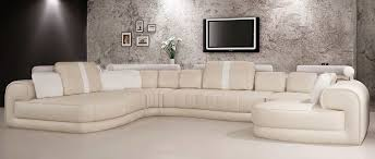 cream and white leather sectional sofa vg129 leather sectionals