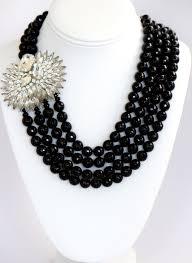 black swarovski crystals necklace images Heftsi black onyx 4 row necklace with swarovski crystal side pendant JPG