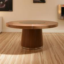furniture large round walnut dining table with wooden flooring