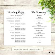 wedding programs printable template template for wedding programs printable order of service